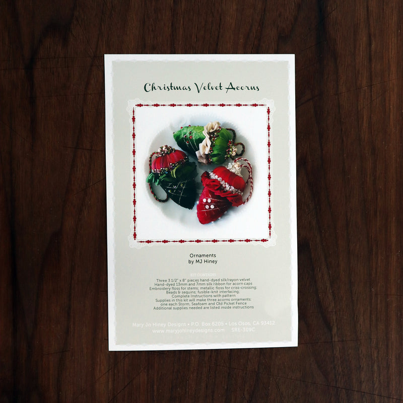 Velvet Acorns Ornament kit Holiday colors