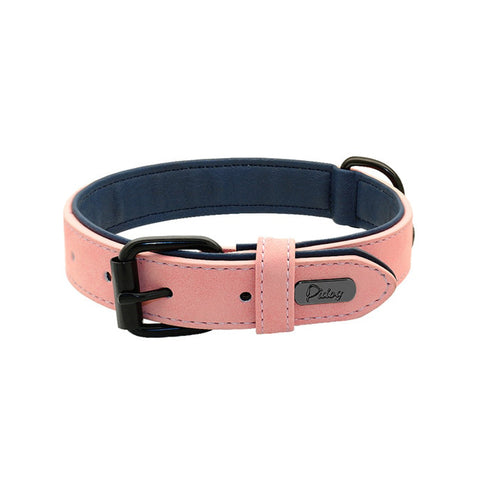 Soft Leather Padded Dog Collar