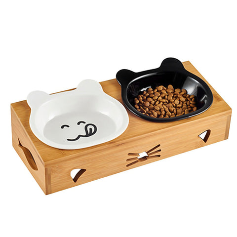 Ceramic Cat Bowls and Bamboo Feeding Station