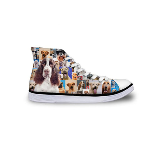 High Top Canvas Sneakers, Photographic Print Designs Labrador, Rottweiler, Cocker Spaniel, Dalmatian, Weimaraner, Border Collie, Dachshund, Chihuahua.