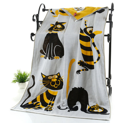 Funky Kitten Bath Towels Pure 100% Organic bath towels