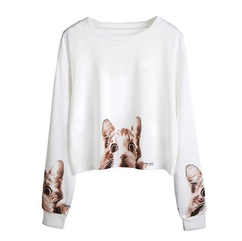 Long Sleeve Cat Sweatshirt