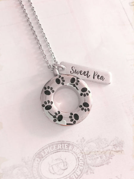 Pet loss - Hand stamped necklace - Pet memorial - 33Blue