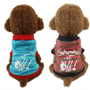 Cute Strip pet dogs Hooded T shirt Puppy dog - 33Blue