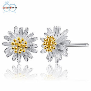 1Pair Women Daisy Flower Earrings Ear Stud Jewelry - 33Blue