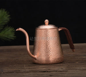 FeiC 1pcs 0.6L Copper Tea and Coffee Drip Kettle pot hot water for Barista - 33Blue