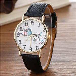 Owl watch  Cute Owl Pattern Neutral Fashion Leather Quartz - 33Blue