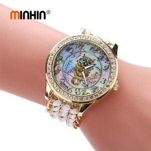 Elegant Owl Women Watches Fashion Gold Dress Watch - 33Blue