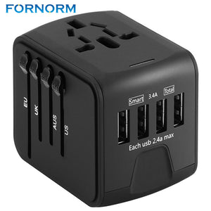 Universal Travel Charger Adapter 4 USB Part Adaptor - 33Blue