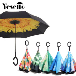 Reverse Umbrellas Folding Double Layer Inverted C Hand Holder Stand Rain Windproof Rolling Over Umbrella For Women - 33Blue