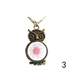 Women Vintage Rhinestone OWL Pendant Long Chain Necklace - 33Blue