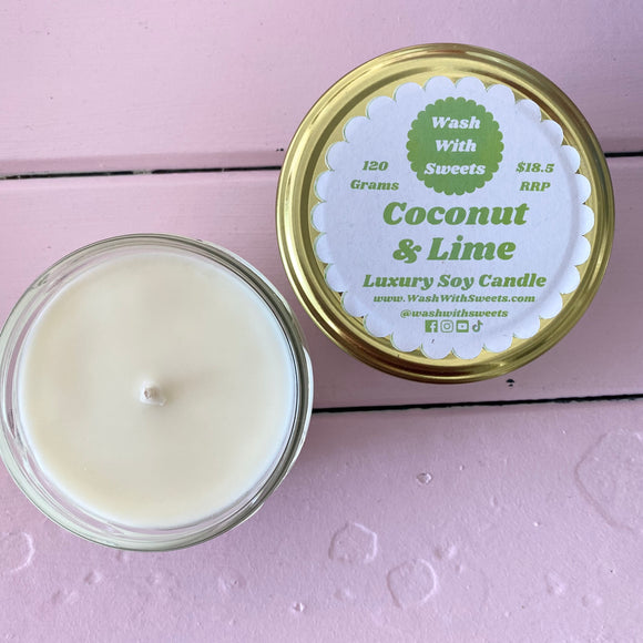 Coconut & Lime ~ Scented Soy Wax Jar Candle ~ Rustic Range