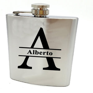 Bride or Groomsman gift for wedding --Personalized  hip flask with black box