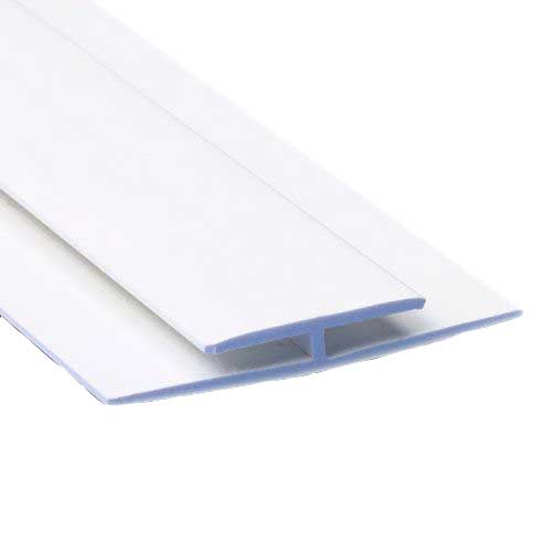 'H' Section Division Bar (2.44m | White) - Horizon Plastics Online