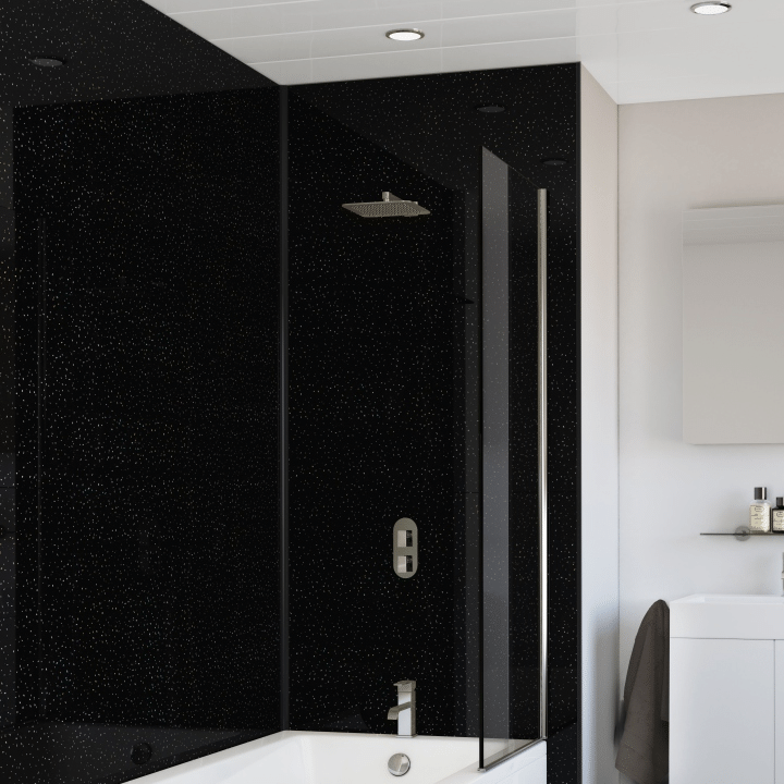 10mm SplashPanel Wall Panel (1m x 2.4m | SPL01 | Black Crystal)