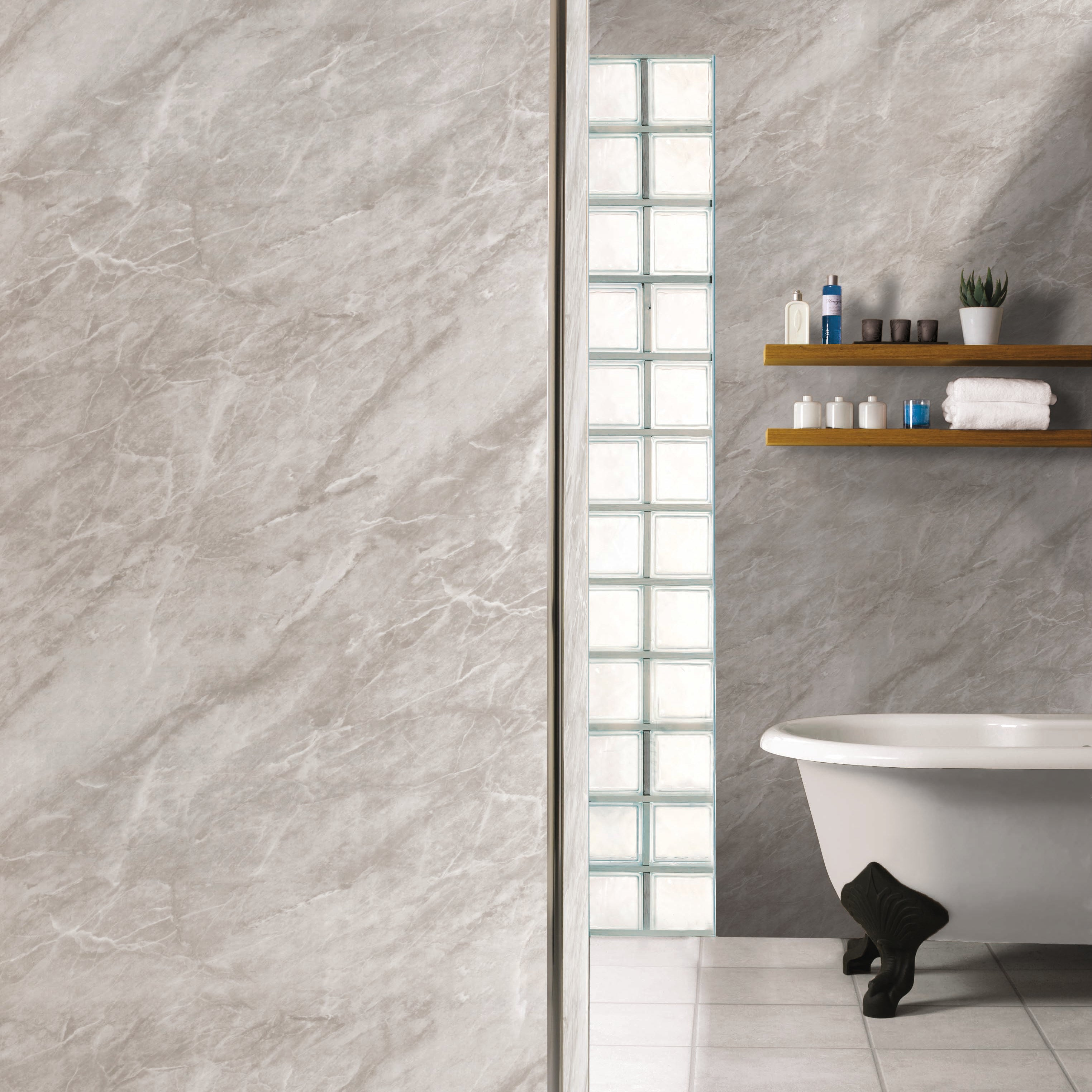 10mm SplashPanel Wall Panel (1m x 2.4m | SPL03 | Light Grey Marble)