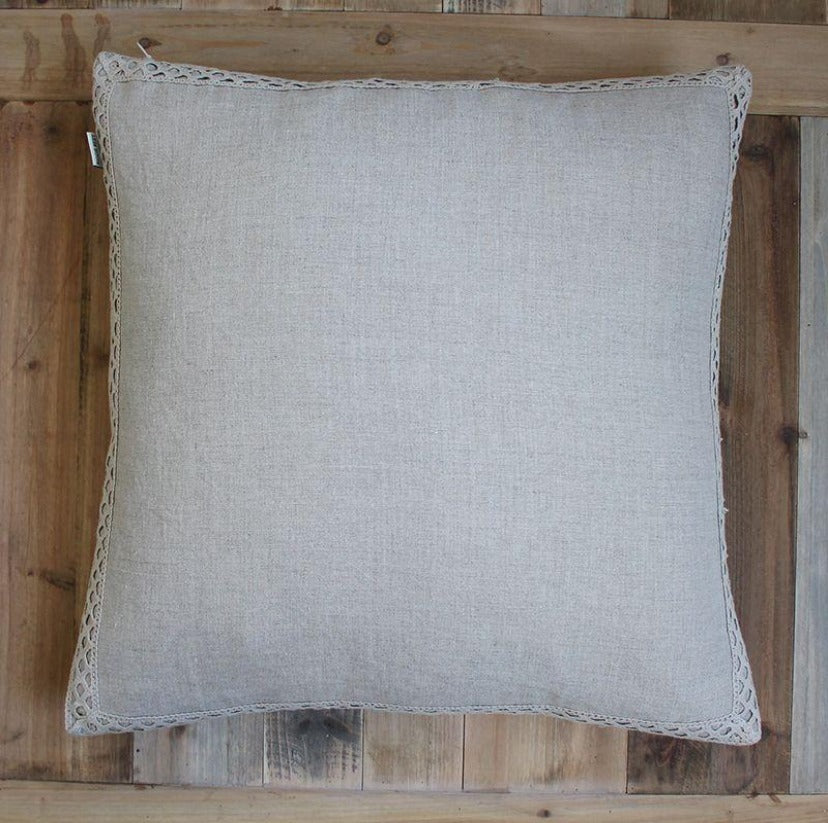 Natural Lace Border Cushion 50 x 50cm (Includes Inner)