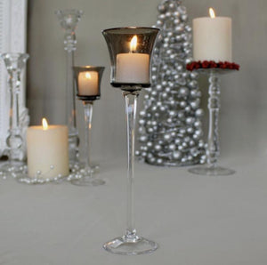 Pair of Long-Stem Tealight Holders - Smokey Grey