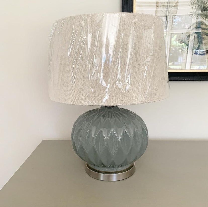 Glazed Ceramic Lamp With Linen Shade