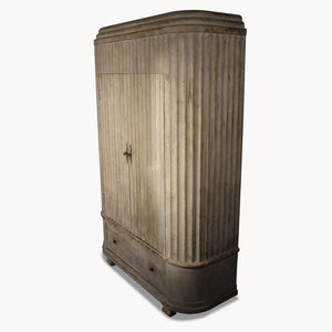 Two-Door Wooden Curved Wardrobe / Cabinet / Linen Cupboard