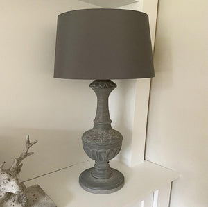 Antique Fir Grey Table Lamp With Shade