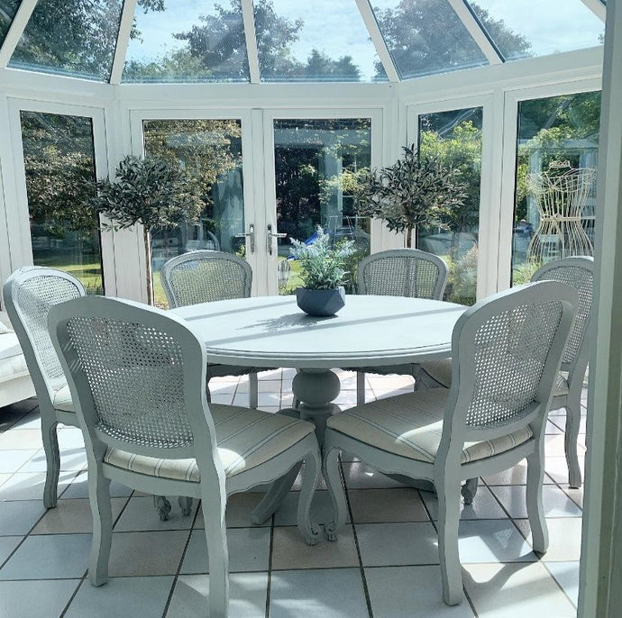 French Country Style Round Dining Table and 6 Chairs - Grey And Blue