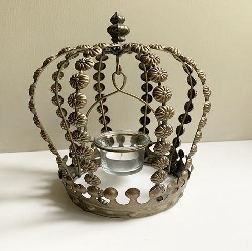 Decorative Wire Crown Lantern - Antique Gold