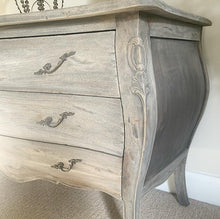 Load image into Gallery viewer, Bombe Style Chest of Drawers - Weathered Oak Finish
