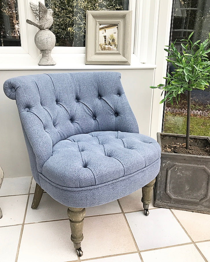 Curved-Back Bedroom Chair - Blue
