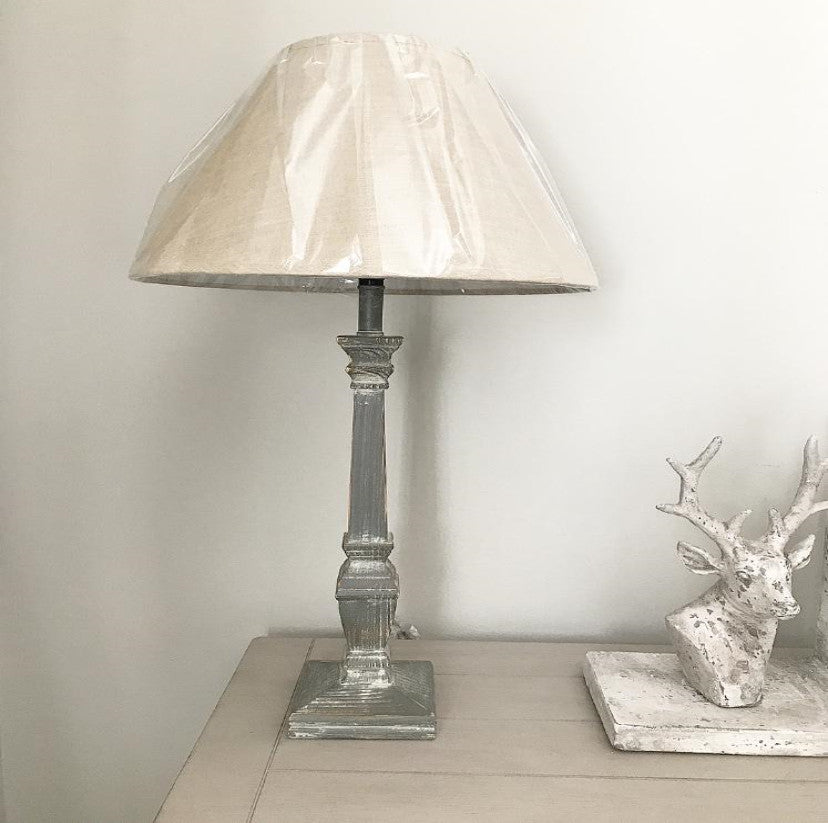 Grey Scratch Base Table Lamp With Linen Shade