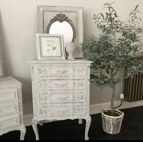French Louis XV Style Oak Serpentine Chest of Drawers - Paris Grey