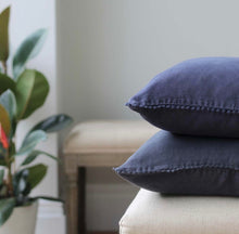 Load image into Gallery viewer, Night Navy Linen Cushion With Lace Edging 50 x 50cm (Includes Inner)