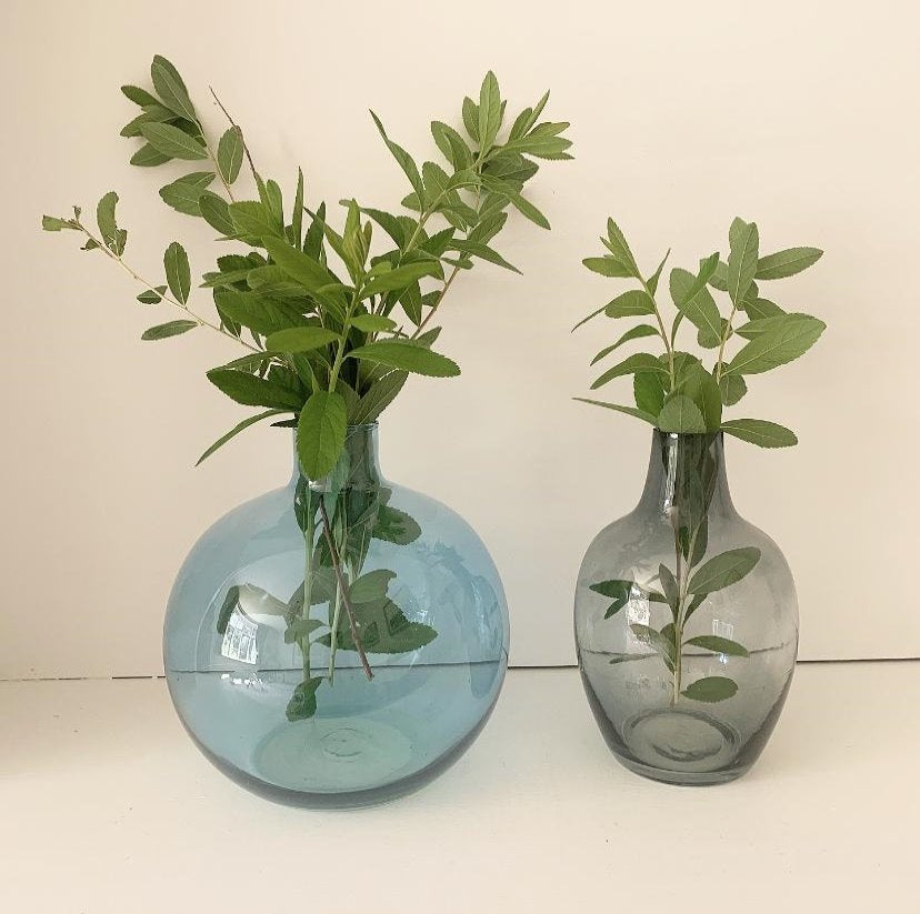 Two Glass Vases - Shades of Blue
