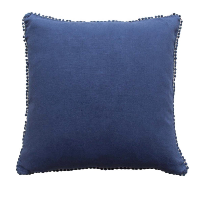 Night Navy Linen Cushion With Lace Edging 50 x 50cm (Includes Inner)