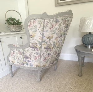 French Louis Style Wingback - Vintage Floral Fern