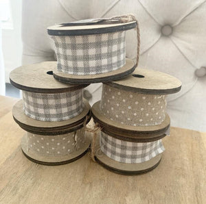 Set of 5 Cotton Ribbons on Wooden Spools