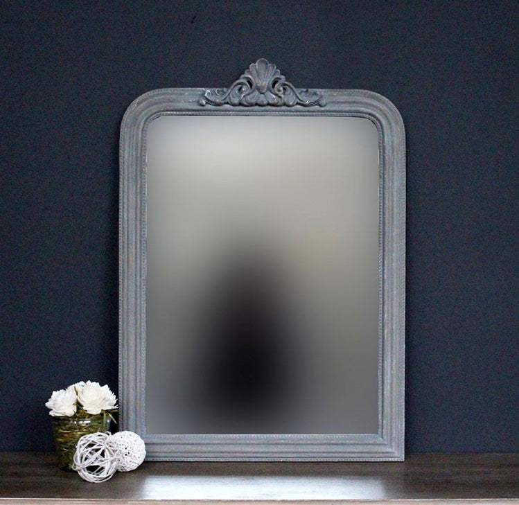 Pediment Mirror (Small) - Blue Grey