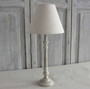 Antique Wood Table Lamp With Linen Shade