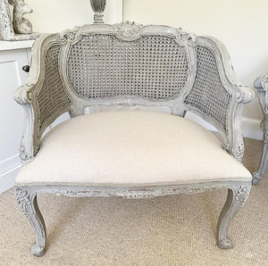 French Style Rattan Chair / Two-Seater / Set - Taupe