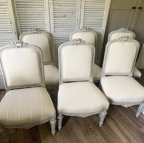 Set Of Six French Dining Chairs - Taupe / Beige