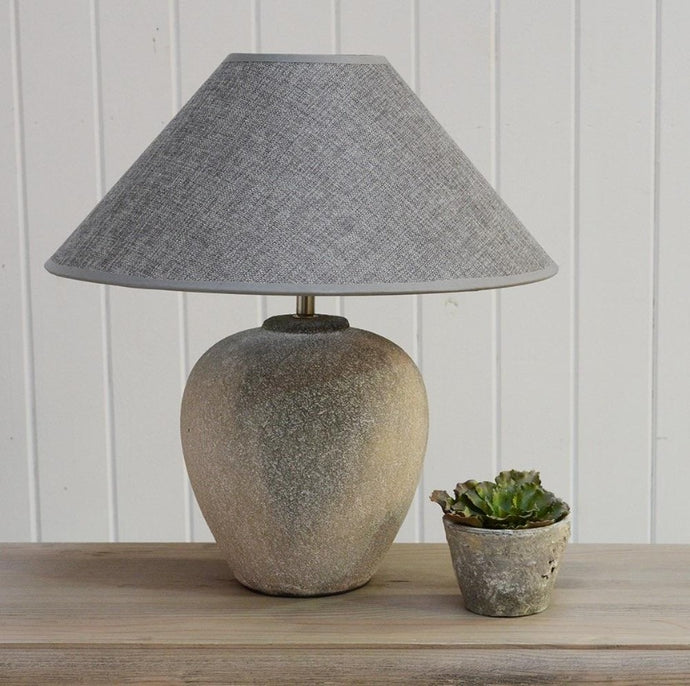 Stone Table Lamp With Grey Shade