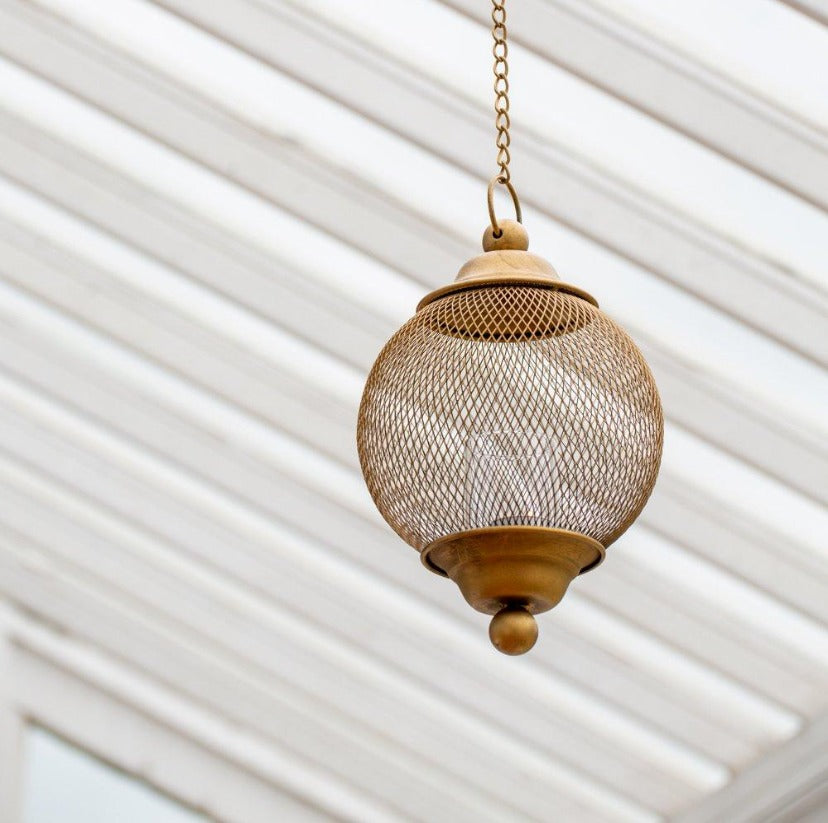 Hanging Mesh Lantern - Antique Brass