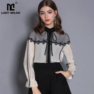 Lady Milan 2019 100% Pure Silk Women's Runway Shirts Stand Collar Long Sleeves Embroidery Lace Patchwork Fashion Shirts