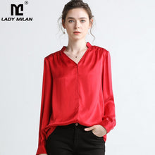 Load image into Gallery viewer, Lady Milan 2019 100% Pure Silk Women's Runway Shirts Sexy V Neck Long Sleeves Ruched Back Fashion Elegant Shirts