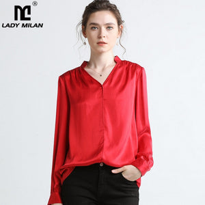 Lady Milan 2019 100% Pure Silk Women's Runway Shirts Sexy V Neck Long Sleeves Ruched Back Fashion Elegant Shirts