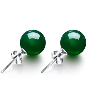 Natural Green Agate Stud Earrings