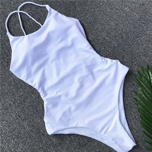 Bandage Halter One Piece Swimsuit