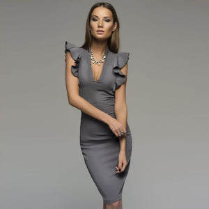 Ruffle Elegant Bodycon Women