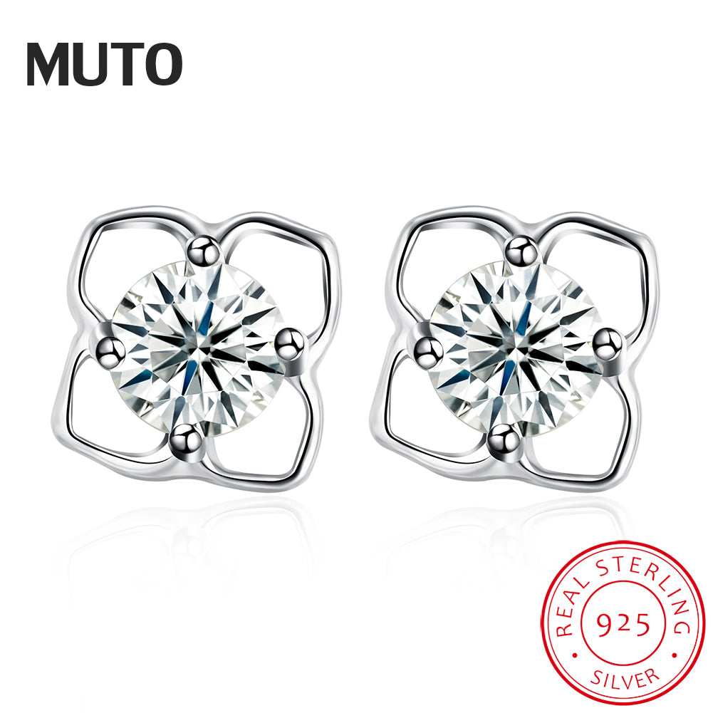Lovely Flower Silver Stud Earrings