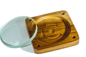 Spinning Base - Teak Wood with Glass Concave Lens